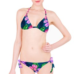 Fancy Tropical Floral Pattern Classic Bikini Set