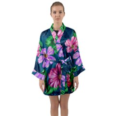 Fancy Tropical Floral Pattern Long Sleeve Kimono Robe by tarastyle