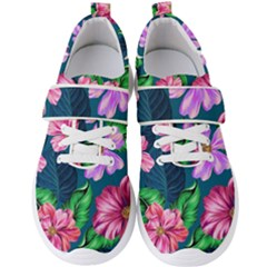 Fancy Tropical Floral Pattern Men s Velcro Strap Shoes by tarastyle