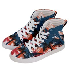 Fancy Tropical Floral Pattern Men s Hi Top Skate Sneakers by tarastyle