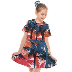 Fancy Tropical Floral Pattern Kids  Short Sleeve Shirt Dress by tarastyle