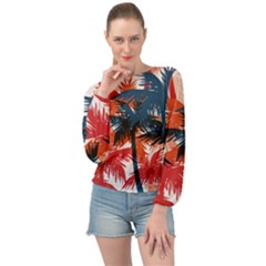 Fancy Tropical Floral Pattern Banded Bottom Chiffon Top by tarastyle