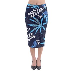 Fancy Tropical Floral Pattern Midi Pencil Skirt