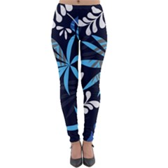 Fancy Tropical Floral Pattern Lightweight Velour Leggings