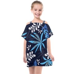 Fancy Tropical Floral Pattern Kids  One Piece Chiffon Dress by tarastyle