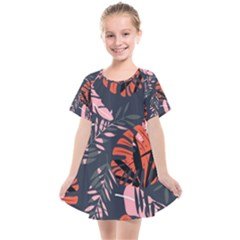 Fancy Tropical Floral Pattern Kids  Smock Dress by tarastyle