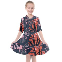 Fancy Tropical Floral Pattern Kids  All Frills Chiffon Dress by tarastyle