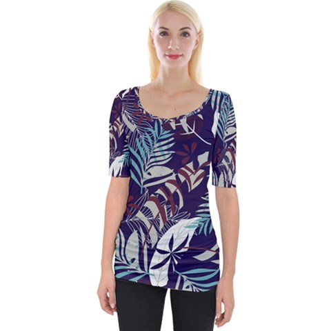 Fancy Tropical Floral Pattern Wide Neckline Tee by tarastyle