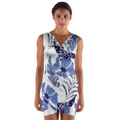 Fancy Tropical Floral Pattern Wrap Front Bodycon Dress by tarastyle