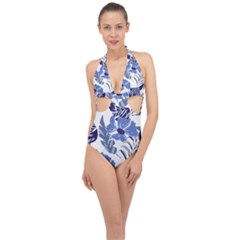 Fancy Tropical Floral Pattern Halter Front Plunge Swimsuit by tarastyle
