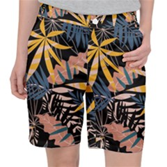 Fancy Tropical Floral Pattern Pocket Shorts