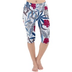 Fancy Tropical Floral Pattern Lightweight Velour Cropped Yoga Leggings by tarastyle