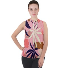 Fancy Tropical Floral Pattern Mock Neck Chiffon Sleeveless Top by tarastyle