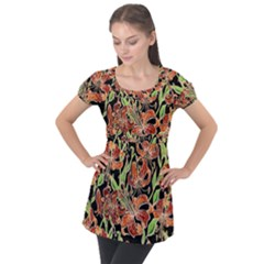 Fancy Tropical Floral Pattern Puff Sleeve Tunic Top by tarastyle
