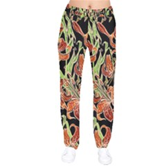 Fancy Tropical Floral Pattern Velvet Drawstring Pants by tarastyle
