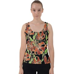 Fancy Tropical Floral Pattern Velvet Tank Top by tarastyle