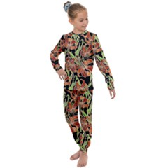 Fancy Tropical Floral Pattern Kids  Long Sleeve Set  by tarastyle
