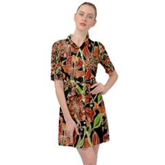 Fancy Tropical Floral Pattern Belted Shirt Dress by tarastyle