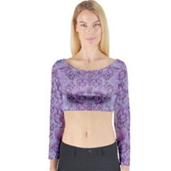 Baroque Fantasy Flowers Ornate Festive Long Sleeve Crop Top by pepitasart