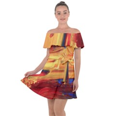 Rainbow Waves Off Shoulder Velour Dress by WILLBIRDWELL