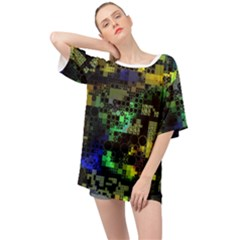 Funny Mix Of Shapes 1a Oversized Chiffon Top