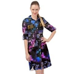 Funny Mix Of Shapes 1b Long Sleeve Mini Shirt Dress