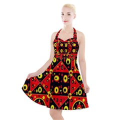 Abp1 Rby 1 Halter Party Swing Dress  by ArtworkByPatrick