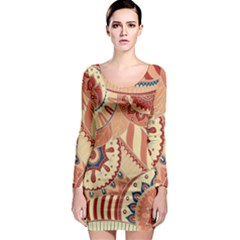 Pop Art Paisley Flowers Ornaments Multicolored 4 Long Sleeve Bodycon Dress by EDDArt