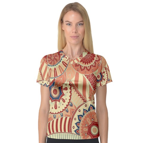 Pop Art Paisley Flowers Ornaments Multicolored 4 V-neck Sport Mesh Tee by EDDArt