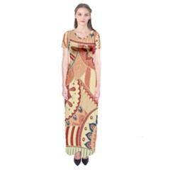 Pop Art Paisley Flowers Ornaments Multicolored 4 Short Sleeve Maxi Dress by EDDArt