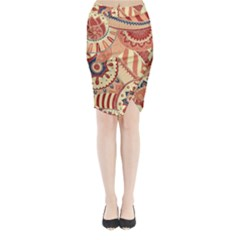 Pop Art Paisley Flowers Ornaments Multicolored 4 Midi Wrap Pencil Skirt by EDDArt