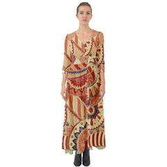 Pop Art Paisley Flowers Ornaments Multicolored 4 Button Up Boho Maxi Dress by EDDArt
