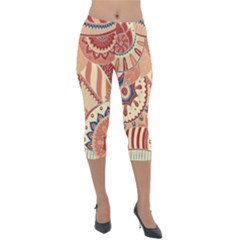 Pop Art Paisley Flowers Ornaments Multicolored 4 Lightweight Velour Capri Leggings  by EDDArt