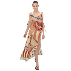 Pop Art Paisley Flowers Ornaments Multicolored 4 Maxi Chiffon Cover Up Dress