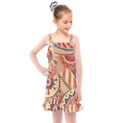 Pop Art Paisley Flowers Ornaments Multicolored 4 Kids  Overall Dress by EDDArt