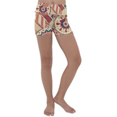 Pop Art Paisley Flowers Ornaments Multicolored 4 Kids  Lightweight Velour Yoga Shorts by EDDArt
