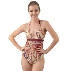 Pop Art Paisley Flowers Ornaments Multicolored 4 Background Solid Dark Red Halter Cut-out One Piece Swimsuit by EDDArt