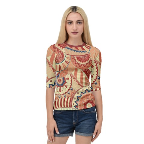 Pop Art Paisley Flowers Ornaments Multicolored 4 Background Solid Dark Red Quarter Sleeve Raglan Tee by EDDArt