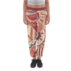 Pop Art Paisley Flowers Ornaments Multicolored 4 Background Solid Dark Red Women s Jogger Sweatpants by EDDArt