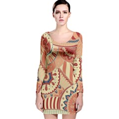 Pop Art Paisley Flowers Ornaments Multicolored 4 Background Solid Dark Red Long Sleeve Velvet Bodycon Dress by EDDArt