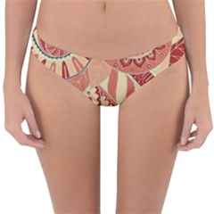 Pop Art Paisley Flowers Ornaments Multicolored 4 Background Solid Dark Red Reversible Hipster Bikini Bottoms by EDDArt
