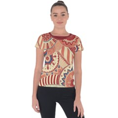 Pop Art Paisley Flowers Ornaments Multicolored 4 Background Solid Dark Red Short Sleeve Sports Top  by EDDArt
