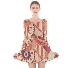 Pop Art Paisley Flowers Ornaments Multicolored 4 Background Solid Dark Red Long Sleeve Velvet Skater Dress