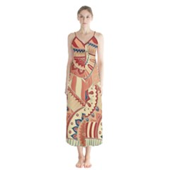 Pop Art Paisley Flowers Ornaments Multicolored 4 Background Solid Dark Red Button Up Chiffon Maxi Dress by EDDArt