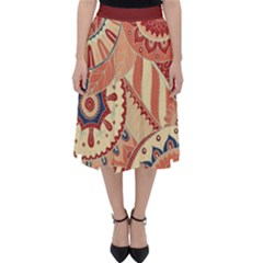 Pop Art Paisley Flowers Ornaments Multicolored 4 Background Solid Dark Red Classic Midi Skirt by EDDArt