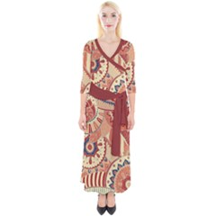 Pop Art Paisley Flowers Ornaments Multicolored 4 Background Solid Dark Red Quarter Sleeve Wrap Maxi Dress by EDDArt