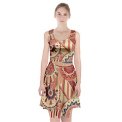 Pop Art Paisley Flowers Ornaments Multicolored 4 Background Solid Dark Red Racerback Midi Dress by EDDArt