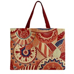Pop Art Paisley Flowers Ornaments Multicolored 4 Background Solid Dark Red Medium Tote Bag by EDDArt