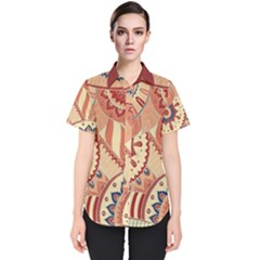 Pop Art Paisley Flowers Ornaments Multicolored 4 Background Solid Dark Red Women s Short Sleeve Shirt
