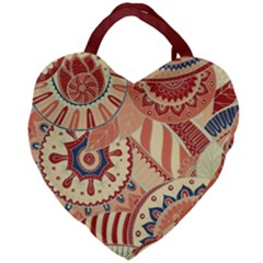 Pop Art Paisley Flowers Ornaments Multicolored 4 Background Solid Dark Red Giant Heart Shaped Tote